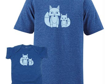 Matching Father Son or Father Daughter Shirts, Fox T shirts Fathers Day present Matching Tees new dad shirt men father gift for dad from son