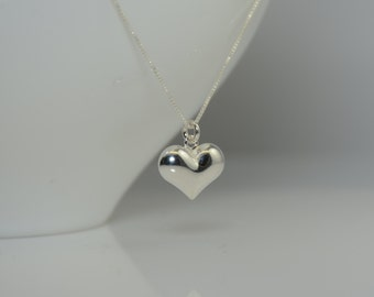 Puff Heart Necklace. Heart necklace. Simple Heart necklace. Sterling Silver Heart Pendant