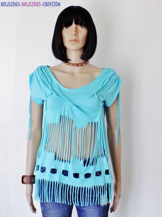Originale T-shirt top Femme !! SLASHED !! EN Coton jersey,bleu Taille 38 / 40 long 64cm belicious-delicious-creation