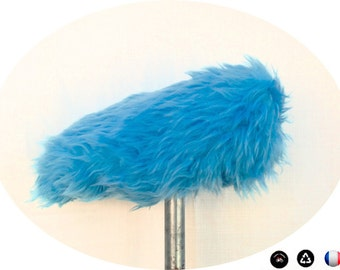 Cover for bike saddle, faux fur, blue