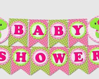 Printable Turtle Baby Shower Banner 'BABY SHOWER' - diy, pdf, Instant Download