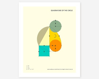 QUADRATURE 0F THE CIRCLE (Giclée Fine Art Print/Photo Print/Poster Print) Minimal, Geometric Art