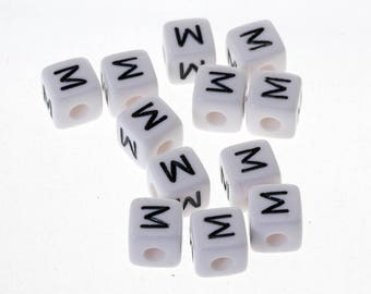 "10 Pearl ""M"" white acrylic letter Alphabet 10mm Bracelet, jewelry, pacifier clip"