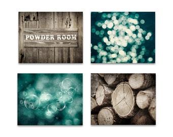 Powder room print set of 4, bathroom print set, set of 4 rustic prints, bathroom home decor, teal brown wall art, farmhouse rustic print set
