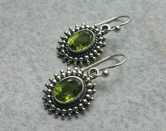 Sterling Silver Green Peridot Earrings, 925 Dangle Earrings, Gemstone Boho Earrings, Medieval Earrings, August Birthstone, Gift for Her