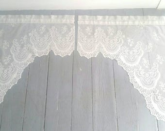 """Large White Lace Window Curtains. Vintage White Lace Window Toppers. Sheer White Lace Curtains. Pair of lace curtains. Made in USA. 30x30""""."""