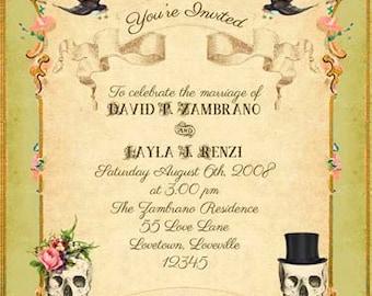 Olivgrün Boho druckbare DIY Hochzeit Einladung Suite - gotische viktorianische Gypsy Skulls & Roses - Customized Vintage Hochzeitseinladung