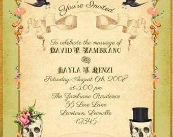 Olive Green Boho Printable DIY Wedding Invitation Suite - Gothic Victorian Gypsy Skulls &  Roses - Customized Vintage Wedding Invitation