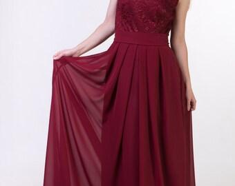 Red wine bridesmaid dress Burgundy red bridesmaid dress Red wine lace dress Long wine dress Lace burgundy red dress long Prom dress red wine