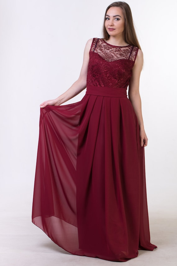 Red Bridesmaid Dress with Straps