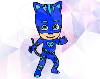 PJ Masks Catboy SVG DXF Eps Layered Cut Files Cricut Designs Silhouette Cameo Party Supply Decoration Stencil Vinyl Tshirt Decal Template