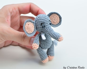 Toy Elephant, amigurumi elephant, tiny crochet animal, stuffed little toy, miniature gift toy, little grey elephant, african toy gift