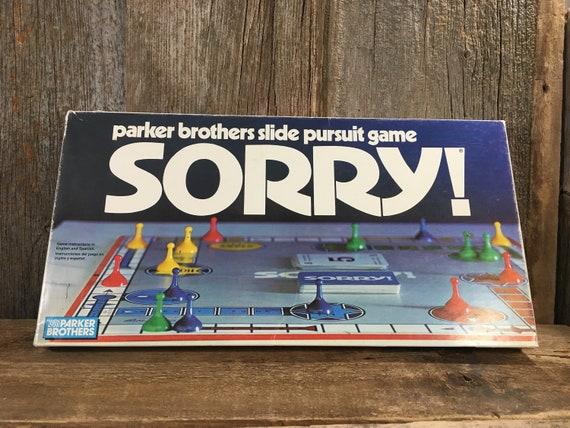 Vintage game of Sorry, Parker Brothers slide pursuit game, vintage Parker Bros. Game, family game night, vintage games, 1972 Sorry game