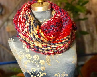 Chunky red, white, and blue infinity scarf