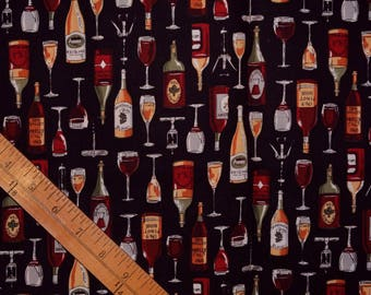 Wine bottles Robert Kaufman fabric novelty wine fabric by the half yard Wine diva quilting fabric wine lover aprons cloth napkins wine bags
