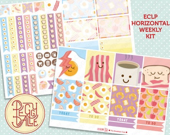 The Breakfast Club Weekly Kit for EC horizontal Planners |  Planner Stickers | Eggs | Bacon | Food | Coffee | Fruits | Bread