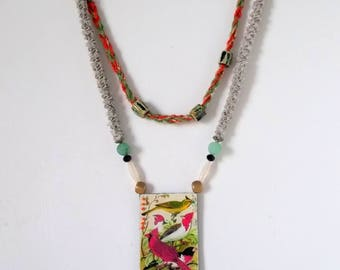 textile jewelry designer/bird pendant