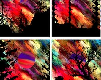 Artist Hand Created 6 Fabric 100% Cotton Sateen Art Prints Panel Landscape Moon Aurora Borealis Sunset Quilting