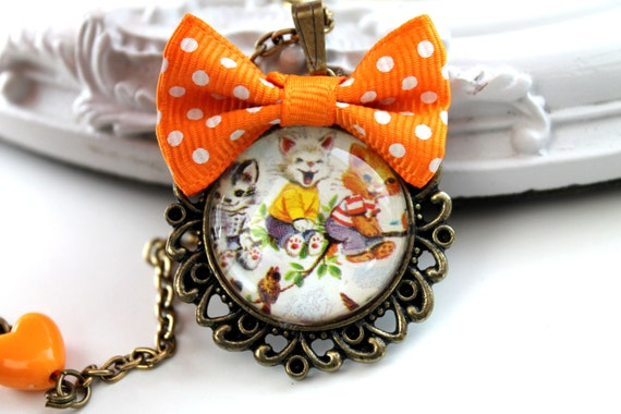 Cute vintage cat print necklace The 3 Kittens orange bow and heart kawaii lolita