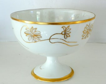 Antique Pedestal Bowl, Vienna Handpainted Lusterware White Gold   Gilt Small Porcelain Bowl