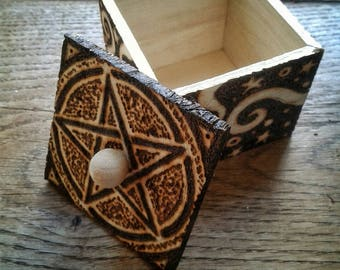 Small Wooden Trinket Box with Pentacle, Swirls and Stars Motif, Pyrography OOAK