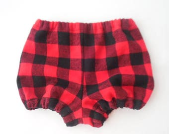 Red and black buffalo plaid flannel baby and toddler diaper covers