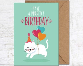 Cat Birthday Card, Funny Cat Card, Cat Lover Gift, Funny Birthday Card, Cute Birthday Card, Animal Birthday Card, Friend Birthday Card