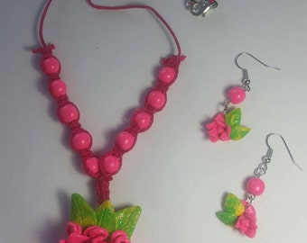 Set of necklace and earrings. Imitation jewelry. Jewelry for women. Accessory of polymer clay. Gift for her. Handmade.