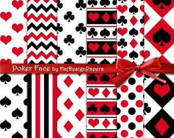 "Black and red digital paper : ""Poker Face"" playing cards digital paper with hearts, spades, diamonds and clubs, stripes and polka dot"