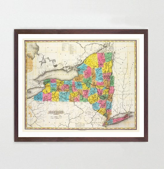 New York Map - New York Map Art - Vintage New York State Map - 1846 - Vintage Map - Old Map - Map Art - Vintage New York Map - Old Maps