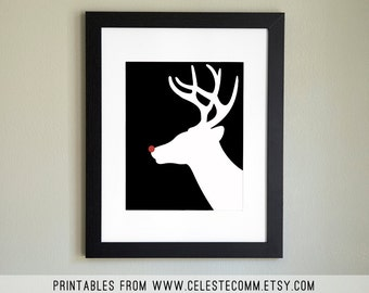 PRINTABLE Reindeer Silhouette 8x10 inch INSTANT download - Rudolph the Red Nosed Reindeer, Christmas decor
