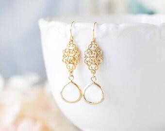 White Opal Glass Crystal Earrings, Gold Dangle Earrings, Gold Oriental Filigree Dangle Earrings, Wedding Bridal Earrings, Bridesmaid Gift
