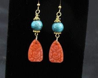Tropical Earrings - Colorful Earrings - Tropical Earrings - Turquoise and Coral - Gift for Best Friend -Gift for Her - Southwest Earrings