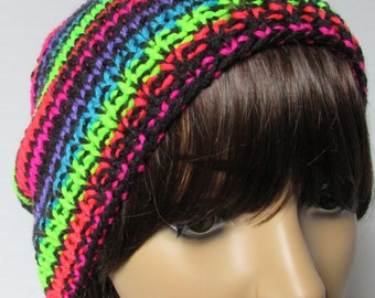 Bright Stripped Slouchy Knit Beanie