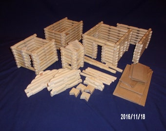 Handmade 'Lincoln Logs' extra large 234 piece set, no container