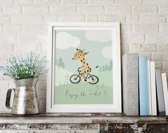 Giraffe riding a bicycle - Boy Art - Holli - Nursery Wall Art - Nursery Decor - Childrens Art - Kids Wall Art - Nursery Art