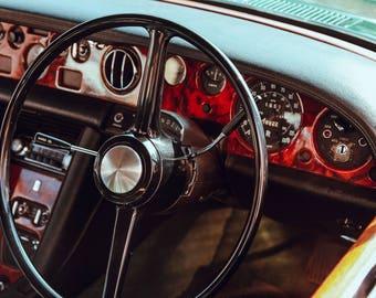 Classic Vintage Car Dashboard Wheel Art Print Wall Decor Image - Unframed Poster
