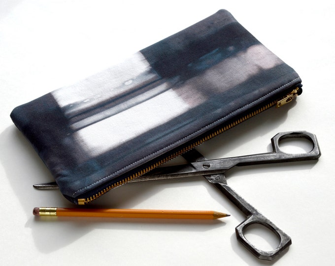 Hand Dyed Shibori Pouch - in Midnight Storm