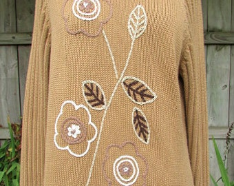 vintage 80s tan turtleneck sweater embroidered flowers  l marshall fields