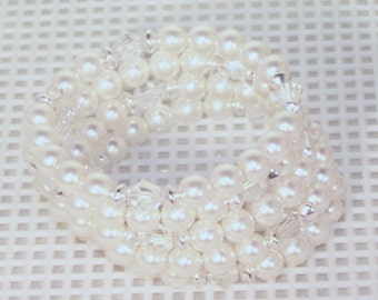 Swarovski Pearl & Crystal Bridal Jewelry - Shown in White with Clear Swarovski Crystals - Any Color
