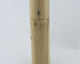 Spices and peppermill grinder in spalted Beech , Cylinder  style  9 in. X 2,325 Diam. item no: 966