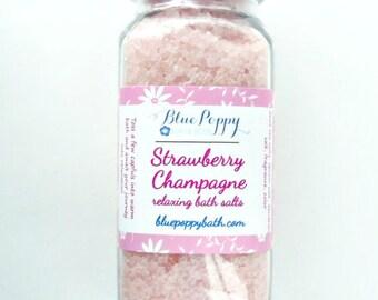 Strawberry Champagne Bath Salts, Dead Sea Salt Soak, All Natural Bath Salts 8 oz., Epsom Salt Soak, Spa Salts