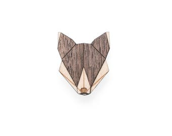 Wolf wooden brooch
