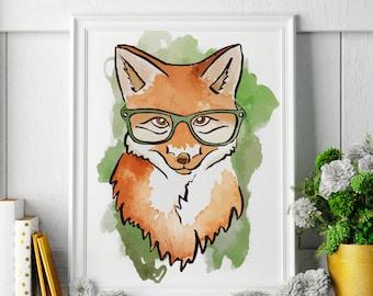 Fox - Fox Painting - Fox Art - Fox Painting - Fox Print - Fox Fine Art Print