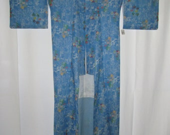 Vintage Kimono Dress Cerulean Blue with Floral Pattern