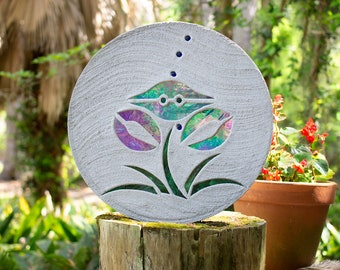 "Iridized Stained Glass Blue Crab Set in a Concrete 18"" Diameter Stepping Stone #781"