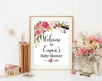 Pink Floral Boho Printable Baby Shower Welcome Sign, Personalized Welcome Sign, Boho Feathers Welcome Sign, Watercolor, Download 309-W