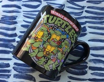 Vintage Teenage Mutant Ninja Turtles Black Ceramic Coffee Mug - novelty mug, character mug, Teenage Mutant Ninja Turtles, licensed mug