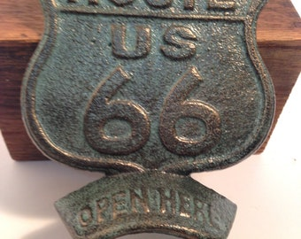 Route 66 bottle opener, cast iron, wall mount, road sign wall decor