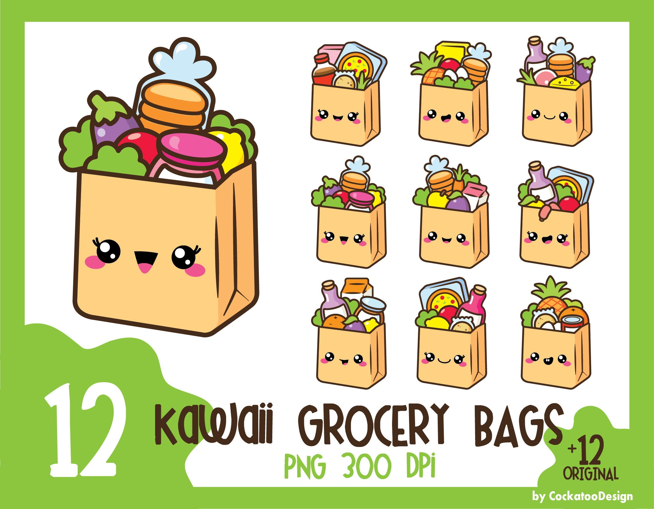 35% OFF Grocery bag clipart kawaii clipart groceries clip